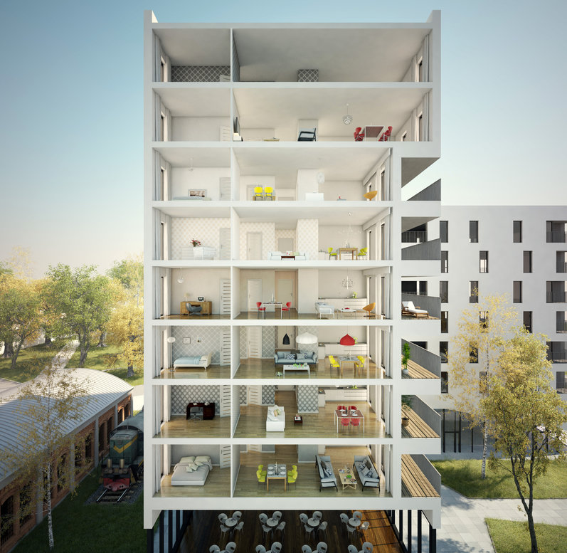 3D Renderings of Multilevel Apartment Building