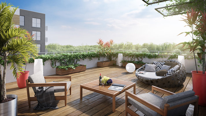 3D Apartment Renderings - Rooftop Deck
