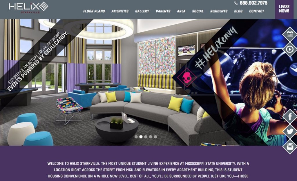 Apartment Website Design Parallax Example