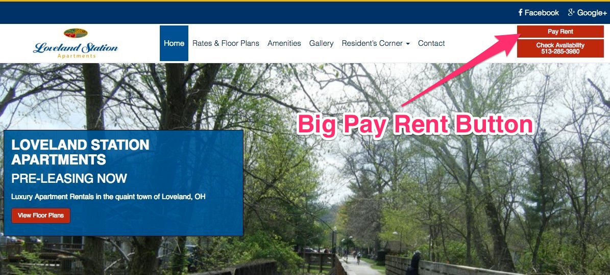 Visible Pay Rent Button - Apartment Marketing Ideas