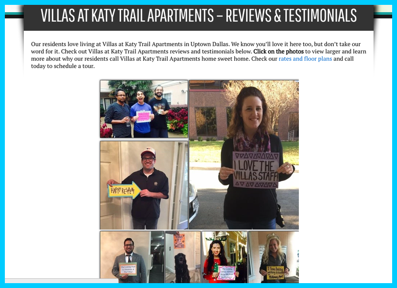 Apartment Website Reviews Page