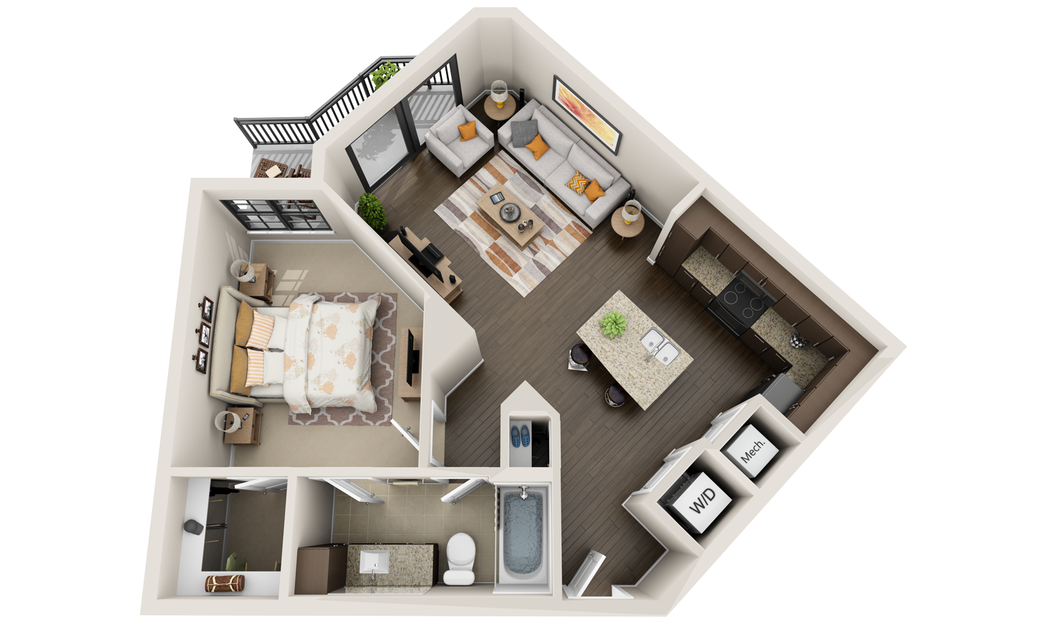 Best 3d floor plans for apartments virtual tours we for One bedroom apartment designs plans