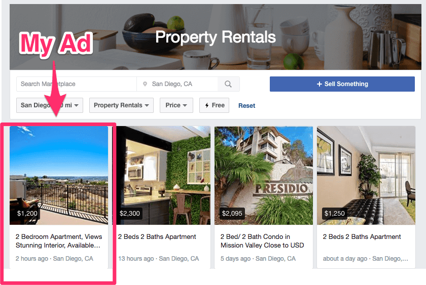 Apartment Advertising on Facebook's Marketplace