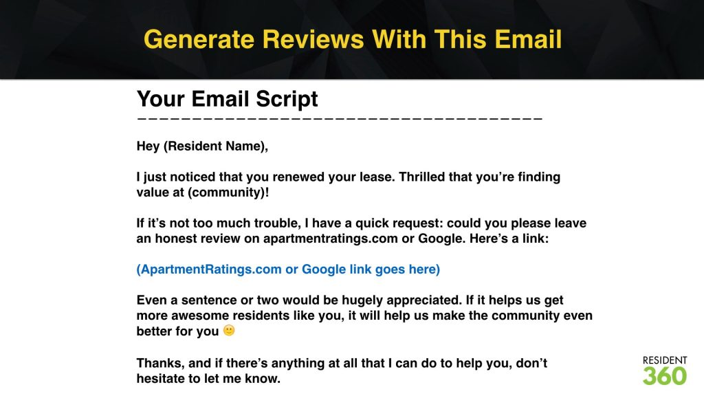 Generate Resident Reviews with This Script