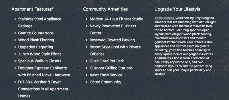 Apartment Amenity Pages