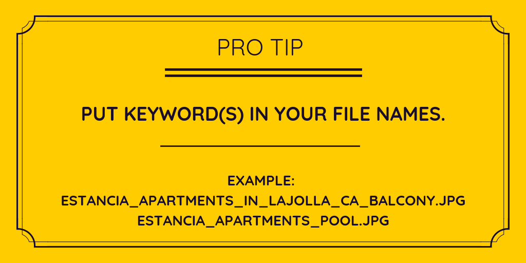 On Page SEO Apartments Keywords In File Names