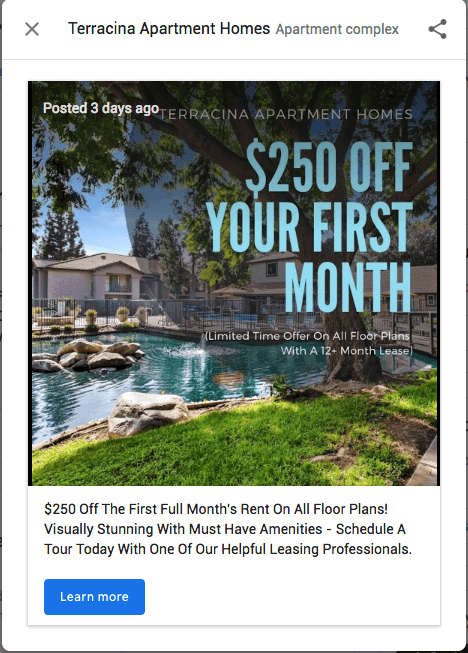$250 Off First Month Rent Post
