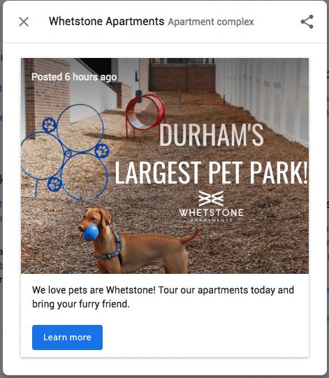 Pet Park Google Post